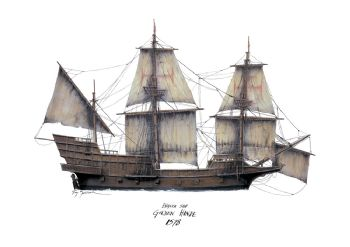 English Ship Golden Hinde 1578